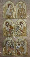 "Embroidered Icon Set of 6: Annunciation (2) and Evangelists (4), 4 1/2"" (12 cm)"