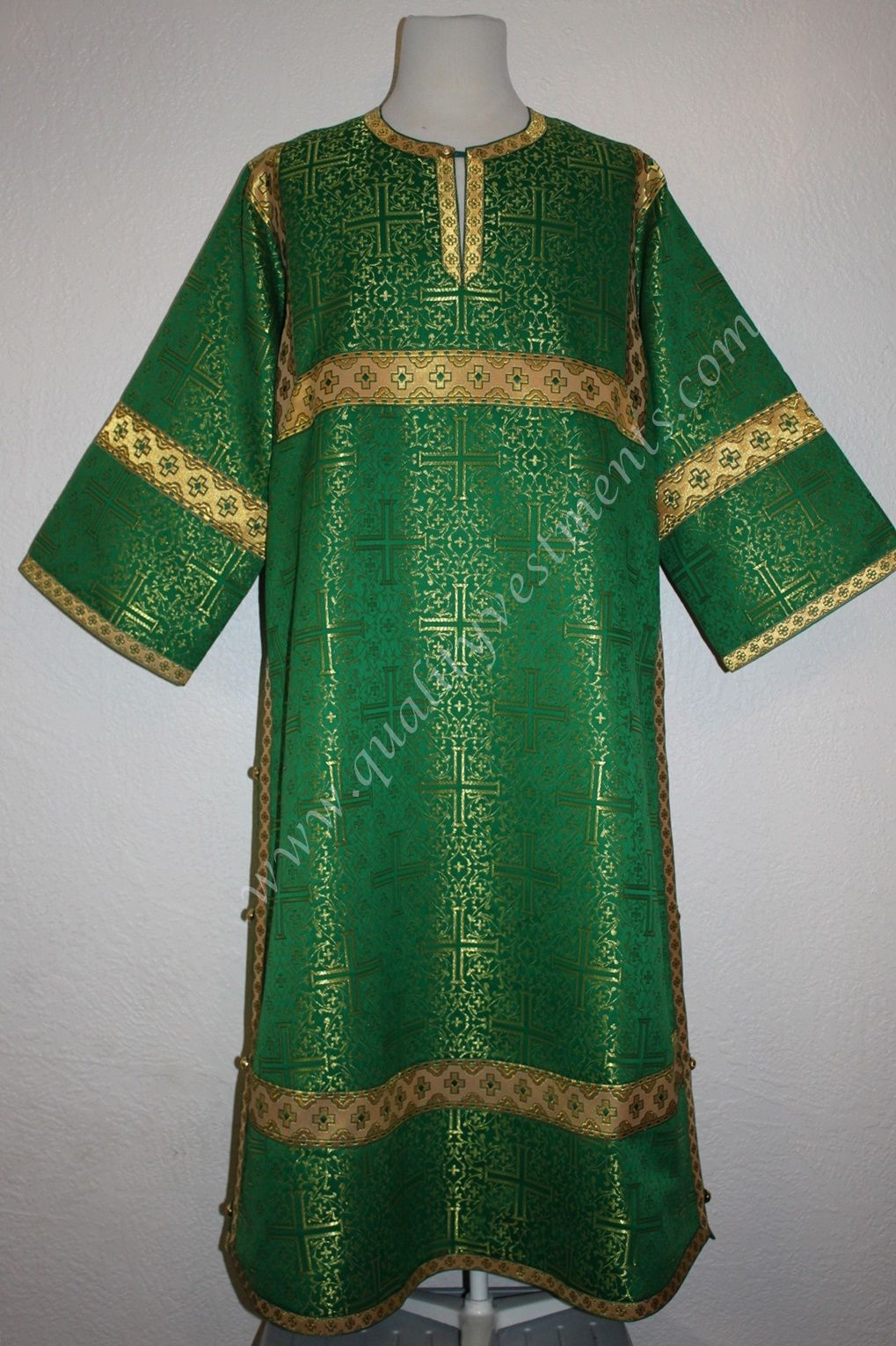 TO ORDER  Reader Acolyte Altar Server Robe Green Gold Nonmetallic Brocade