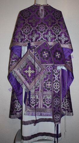 TO ORDER!! Priest Orthodox Vestment Greek Style Purple Silver Metallic Brocade