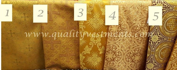 "Gold Nonmetallic Brocade Church Liturgical Vestment 59"" wide Cross Floral"