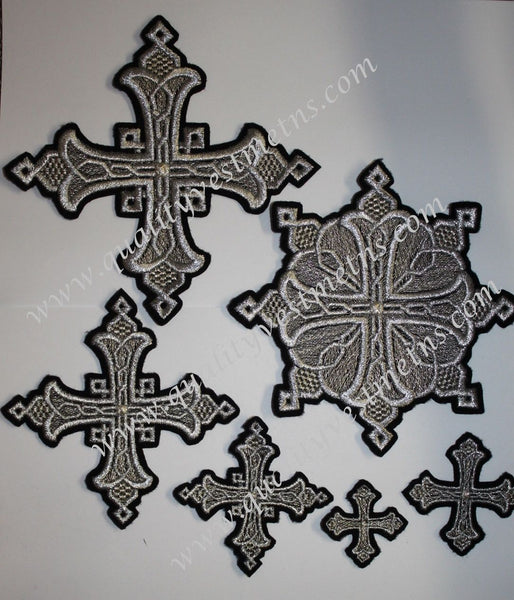 "Embroidered crosses Priest set ""Yaroslavl"" black silver 14 pc set"