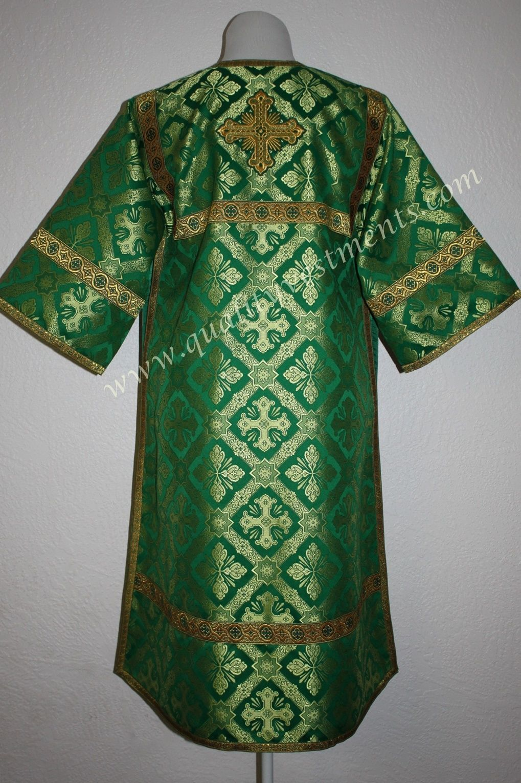 TO ORDER  Reader Acolyte Altar Server Robe Green Gold Metallic Brocade