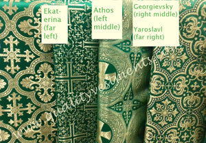 "Liturgical Vestment Fabrics (4) Metallic Brocade Green Gold 59"" W (150 cm)"