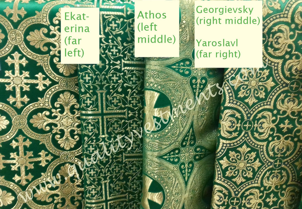 Liturgical Vestment Fabrics (4) Metallic Brocade Green Gold 59