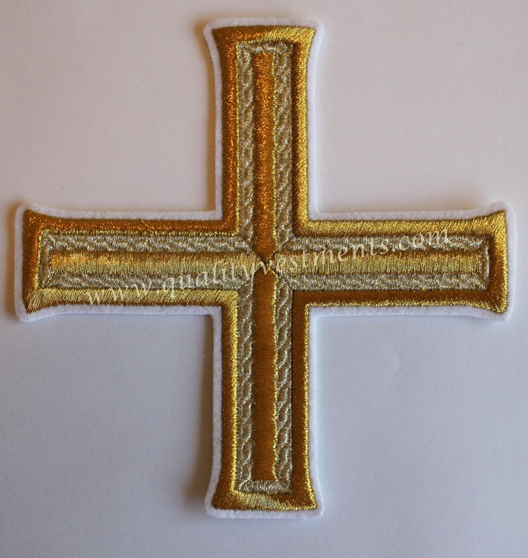 READY TO SHIP! Vestment Liturgical White Gold Embroidered Cross 5 3/4