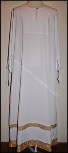 Bishop's White Sticharion Podsaccosnick with trim , fringe and cross white any color