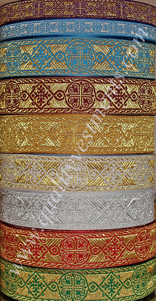 "Church religious jacquard vestment galloon trim  ""Byzantium"" 7/8"" 2.2 cm"