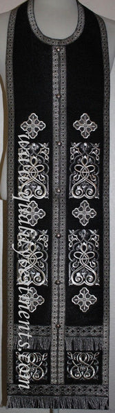 "Black Epitrachelion Stole and cuffs 43 1/2"" 110 cm SHIPS FROM USA!"