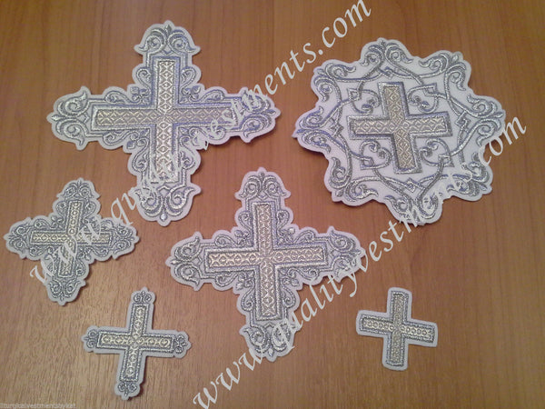 "Embroidered crosses Priest set ""Patterned"" white silver 14 pc set"