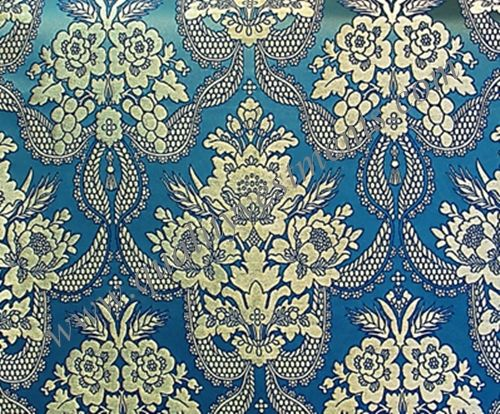 "Church Liturgical Vestment Greek Metallic Brocade Material ""Blue Silver"""