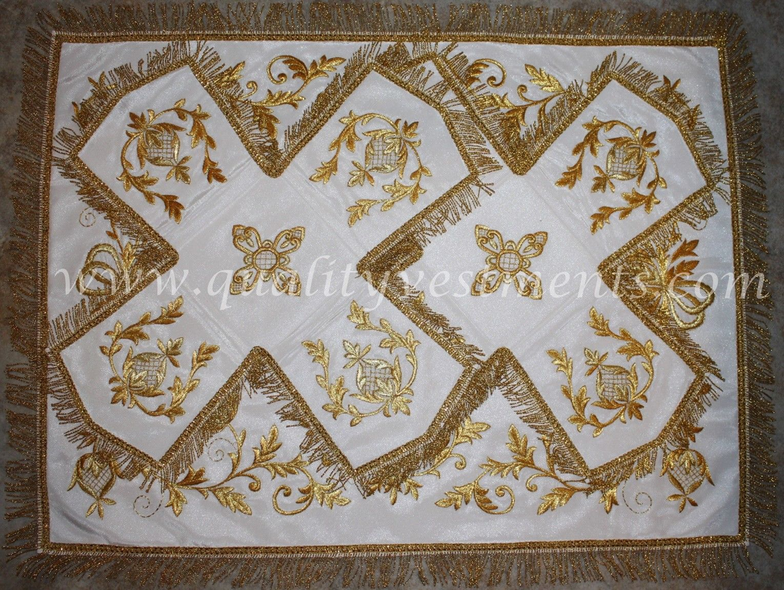 Veils Chalice Covers White Gold  Orthodox Embroidered Floral TO ORDER!