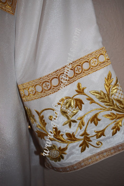 TO ORDER Deacon Russian Orar Byzantine Orthodox Vestment  Embroidered White Gold