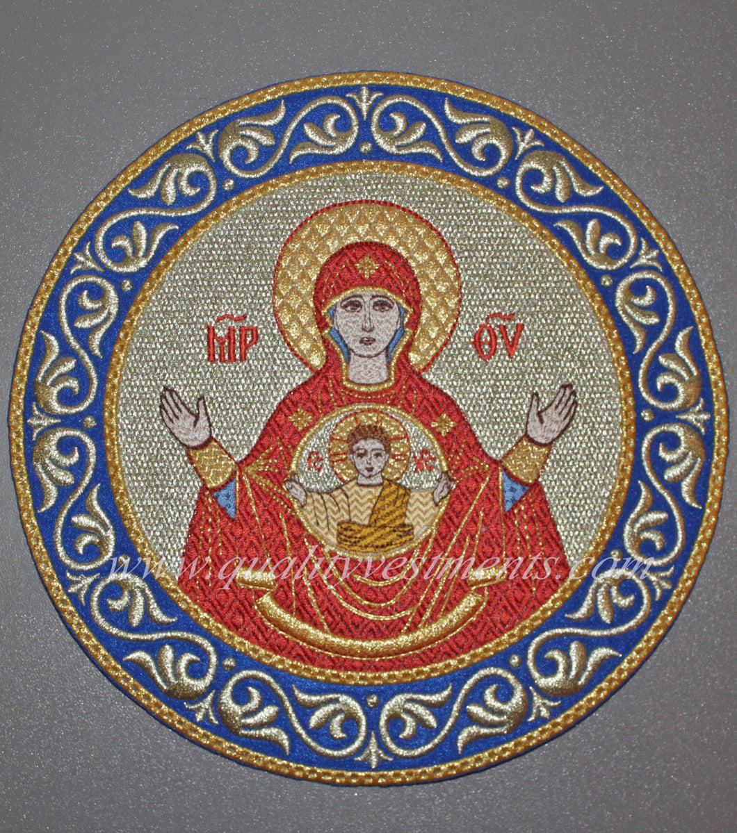 Church Liturgical Embroidered Icon Mother God Theotokos The Sign 8 1/2