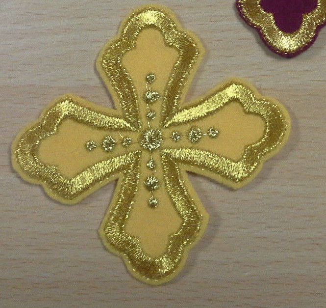Cross embroidered sew on gold red burgundy purple green etc 3