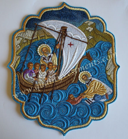 "Church Liturgical Embroidered Icon St. Nicholas & Seafarers 9"" (23cm) Tall"