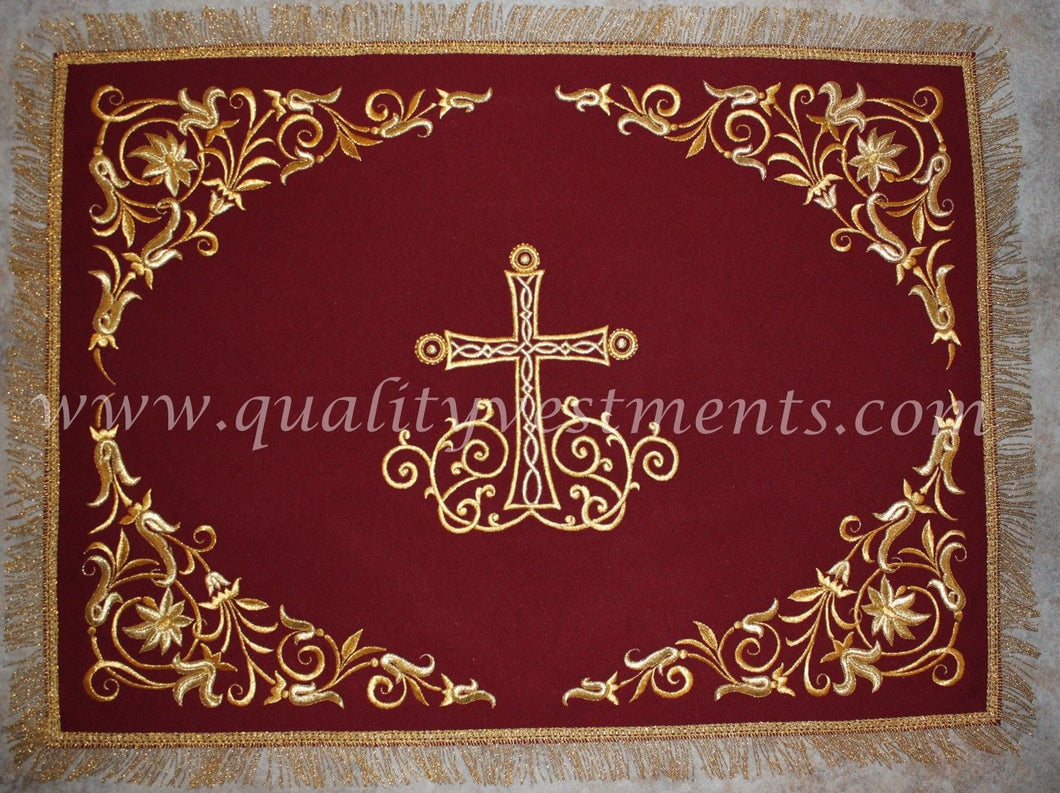 TO ORDER! Chalice Covers Veils Burgundy Maroon Gold Embroidered Cross Floral