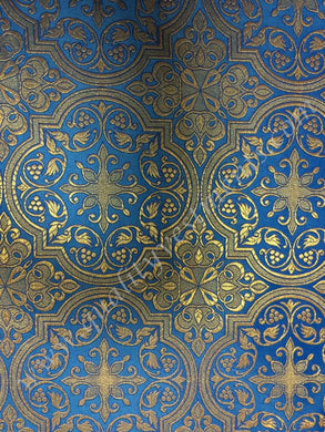 Church Liturgical Vestment Metallic Brocade Fabric  Blue Gold