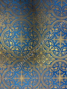 "Church Liturgical Vestment Metallic Brocade Fabric  Blue Gold ""Shuiskaya""  59"" w"
