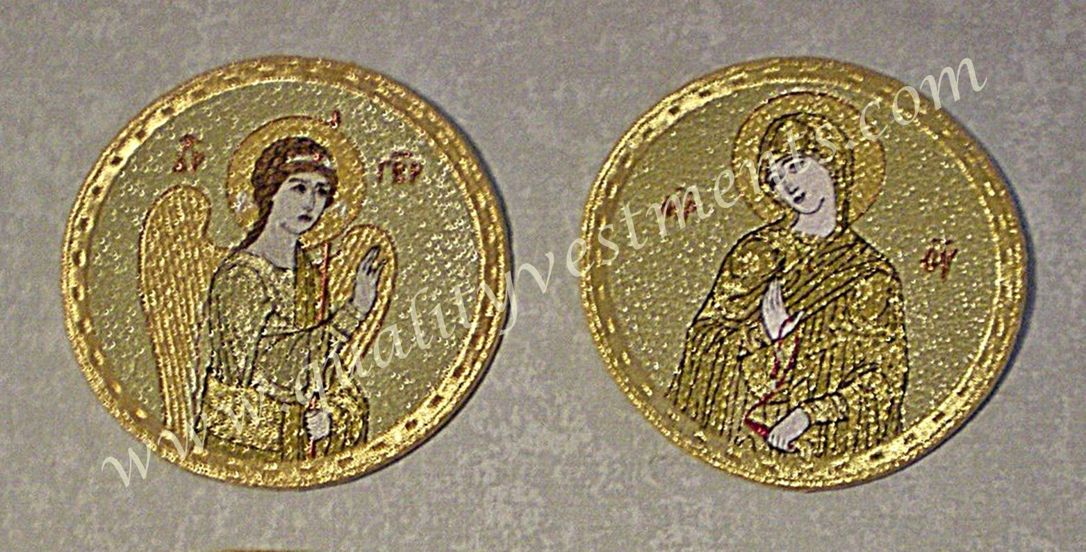 "Embroidered Icon Set: Annunciation 4-3/8"" (11 cm) diameter, 2 in Set, Gold Tones"