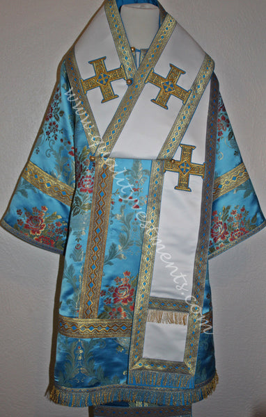 Orthodox Bishop's vestments Blue Gold Floral  Metallic brocade