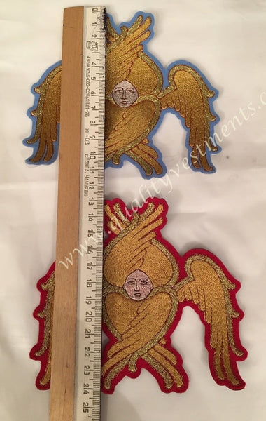 "Embroidered Pair Two of Seraphims 5 1/ 2"" 14 cm high Gold Silver Any background"