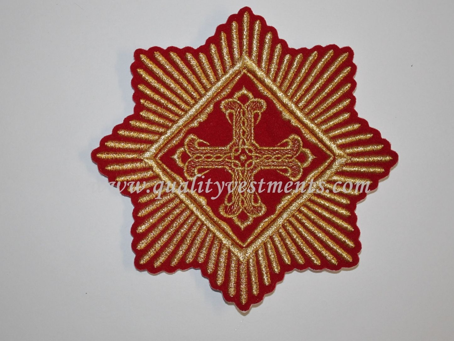 "Church Liturgical Star Red Gold  embroidered 6"" (15 cm)"