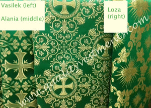 "Liturgical Vestment Fabrics (3) Metallic Brocade Green Gold 59"" W (150 cm)"