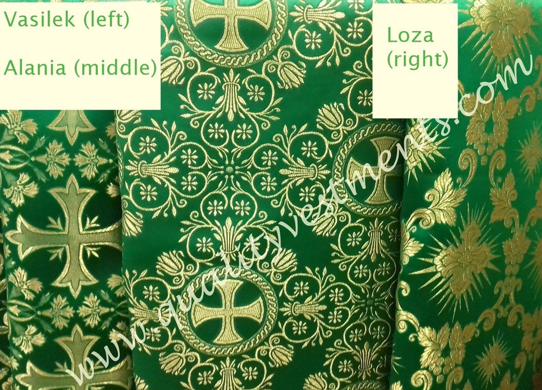 Liturgical Vestment Fabrics (3) Metallic Brocade Green Gold 59