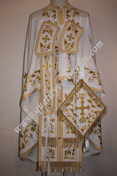 TO ORDER!! Priest Orthodox Vestment Greek Style Embroidered White Gold Floral