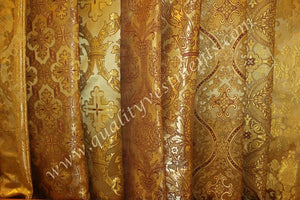 "Church Liturgical Vestment Greek Metallic Brocade Material ""Gold"""