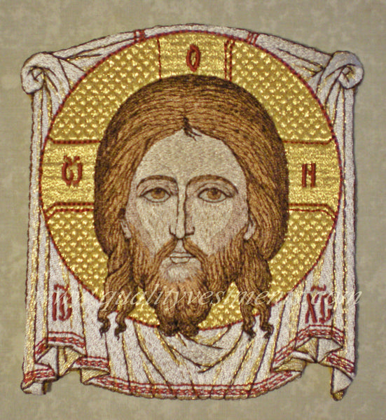 "Embroidered Icon Christ Not-Made-By-Hands 4 1/4"" (12cm) & 4"" (10cm) White Red"