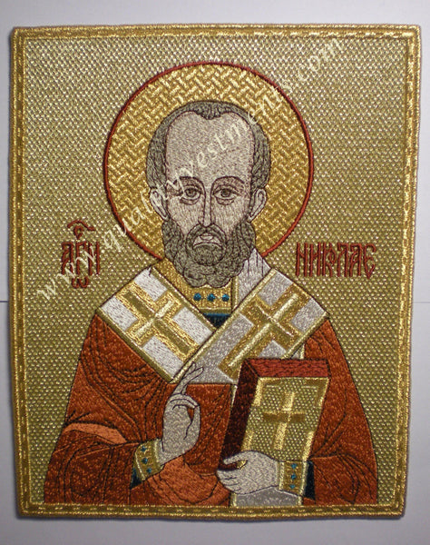 "Liturgical Embroidered Icon St. Nicholas  6 1/3"" (16 cm) Rectangle Height"