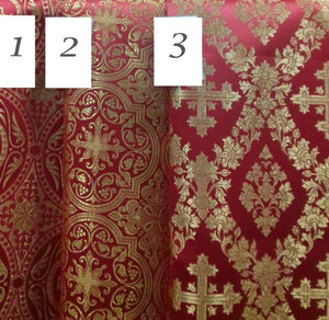 "Liturgical Vestment Metallic Brocade Floral Grape Cross Red Gold 59"" W (150 cm)"