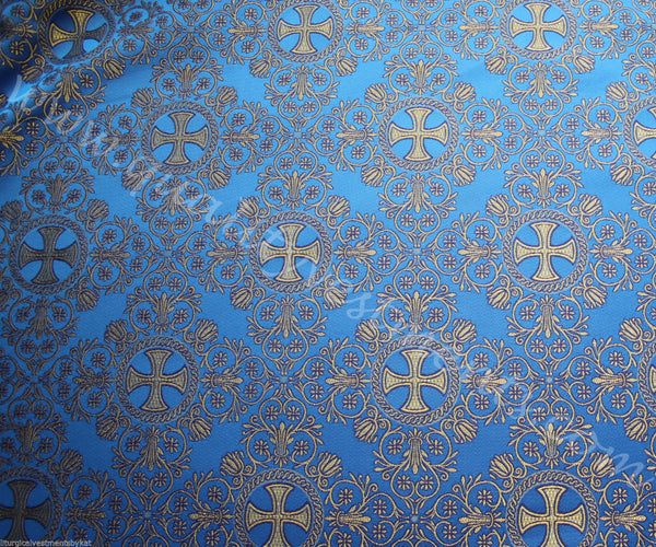 "Liturgical Vestment Brocade Nonmetallic ""Alania "" width is 59'' 150cm gold red"