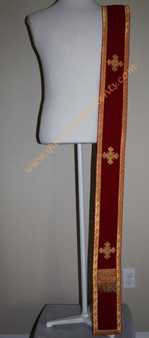 TO ORDER! Single Deacon's Orarion Maroon, Gold Crosses - or Other Color