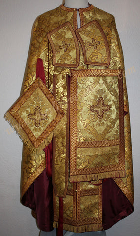 TO ORDER!! Priest Orthodox Vestment Greek Style Burgundy Gold Metallic Brocade