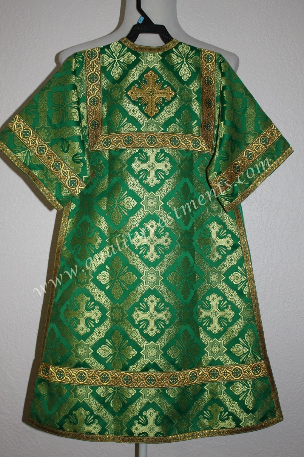 TO ORDER  Reader Acolyte Altar Server Robe Green Gold Metallic Brocade CHILD