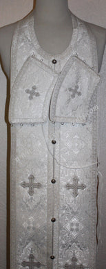 Communion Priest Set Epitrakhil Cuffs White silver  45 3/4