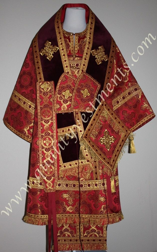 Orthodox Bishop Vestments Metallic Brocade Red Gold with Burgundy Cotton Velvet Omophors