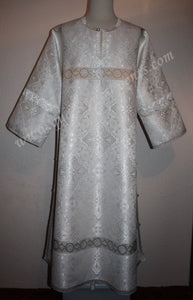 TO ORDER!!  Reader Acolyte Altar Server Robe Pure White Nonmetallic Brocade