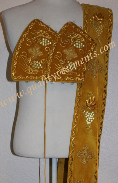 TO ORDER!!! Embroidered orarion orar oraria with cuffs GOLD  GRAPEVINE