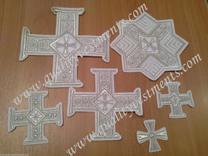 "Embroidered crosses Priest set ""Alexandria"" white silver 14 pc set"