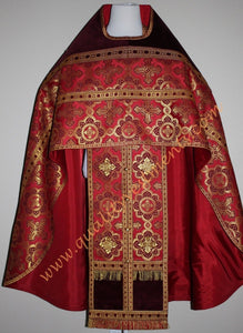 TO ORDER! Russian Style Priest Vestment Metallic Brocade Burgundy with Velvet