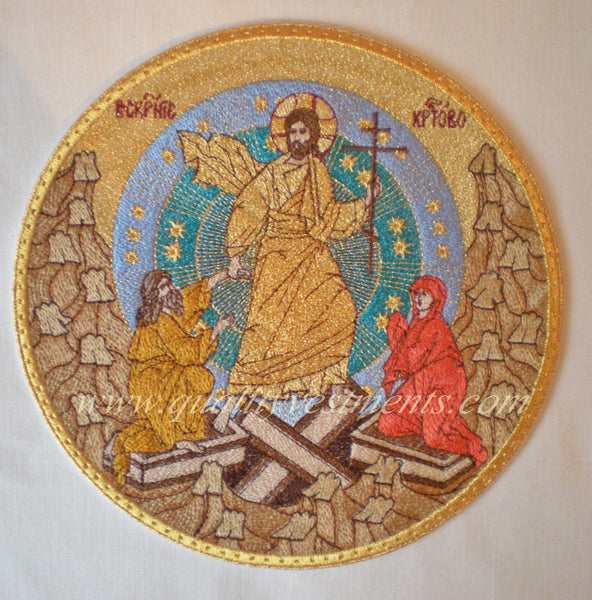 "Church Liturgical Embroidered Icon Descent to Hell 8"" (20 cm) diam. Circle"