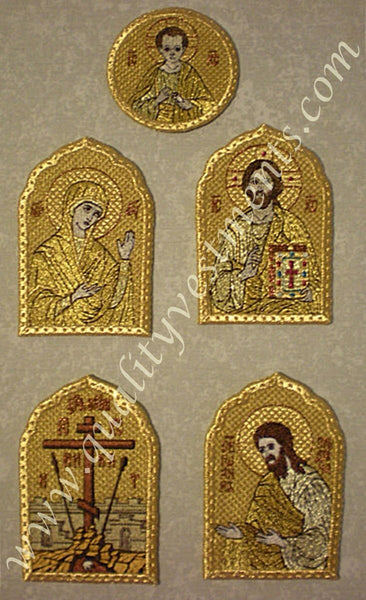 "Orthodox Church Liturgical Mitra Set of 5 Embroidered Icons 4"" 10 cm Height"