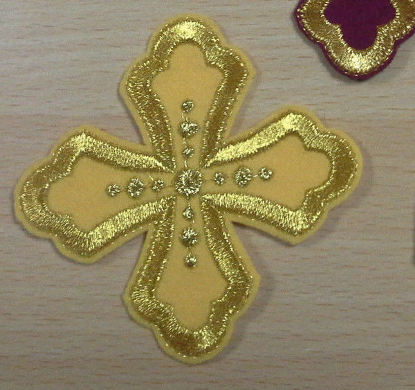 "Cross embroidered sew on gold red burgundy purple green etc 3"" (8 cm"") size"