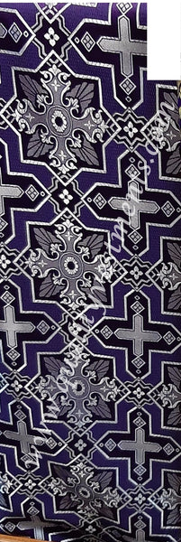 "Purple Church fabric Cross pattern Nonmetallic Liturgical Brocade 59"" wide."