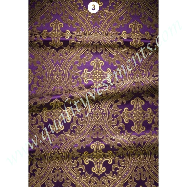 Purple Ecclesiastical Fabric with Cross Rose Wheat pattern Metallic Vestment.