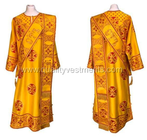 Gold ProtoDeacon's Embroidered vestment LIGHTWEIGHT with maroon accents TO ORDER