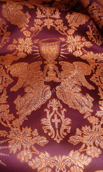 "Angel Holding Chalice fabric lurex metallic 59"" 150 cm wide Red White Gold Blue"
